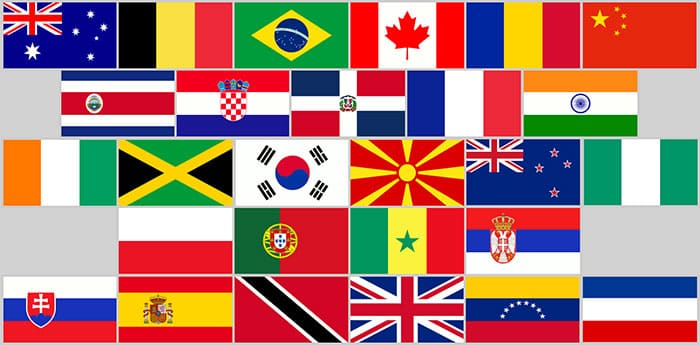 Picture of several Flags from different Countries